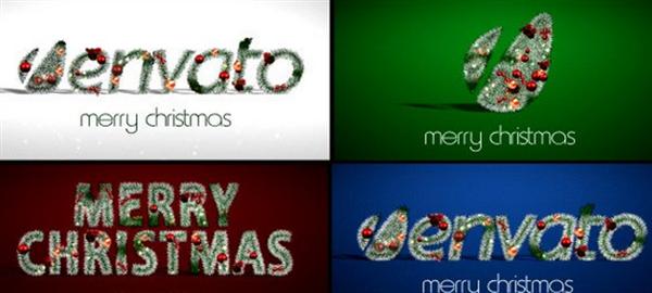 AE模板 缤纷圣诞节气息圣诞树装饰渲染企业标志揭示模板 AE素材
