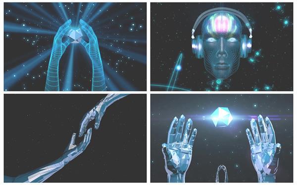 4款虛擬人物VJ場景光效射線手部模型循環變化視覺背景視頻素材