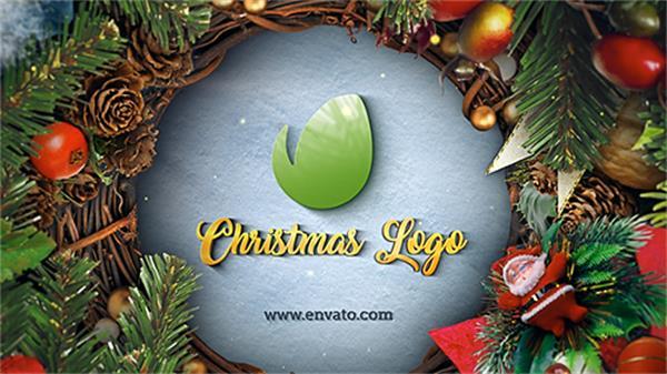 AE模板 创意欢乐圣诞节优雅装饰隧道穿梭切换LOGO标志模板 AE素材