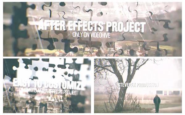 AE模板 唯美创意拼图碎片切换过渡场景图文幻灯片模版 AE素材