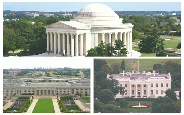 美国华盛顿白宫特区修建特征国会大厦高清视频地面航拍