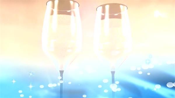缤纷唯美香槟气泡酒旋转婚礼场景交杯酒舞台LED背景视频素材
