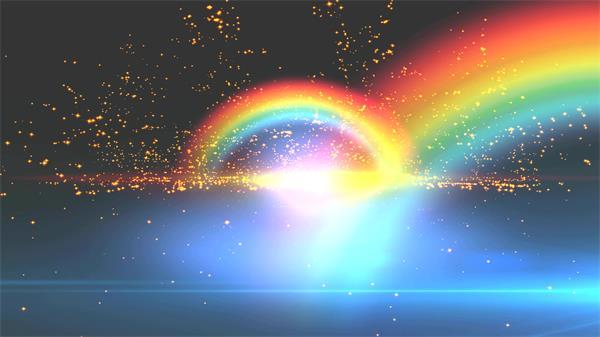 [4K]梦境大气星空光效彩虹粒子火花飘浮舞台收场LED配景视频素材