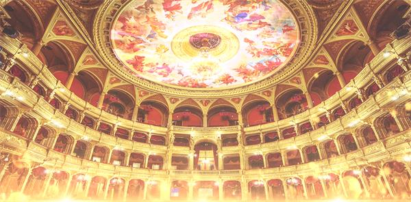 欧式古典大气宫殿奢华光辉修建壮丽灿烂天花舞台配景视频素材