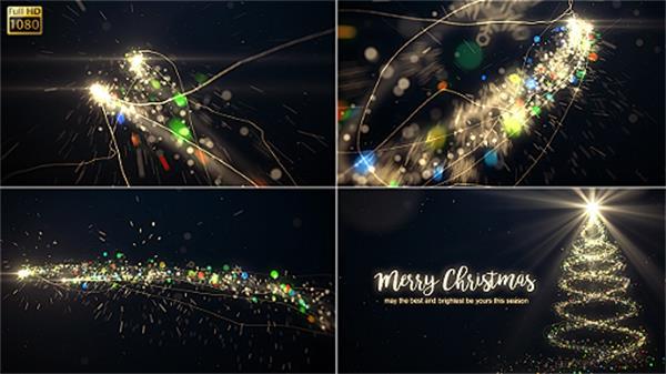 AE模板 华丽光束飞舞渲染光效圣诞树场景欢乐圣诞节片头模板 AE素