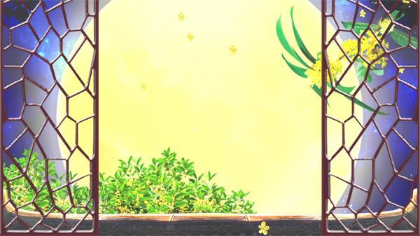 唯美窗前月色桂花花瓣飘落古典意境怀念舞台背景视频素材