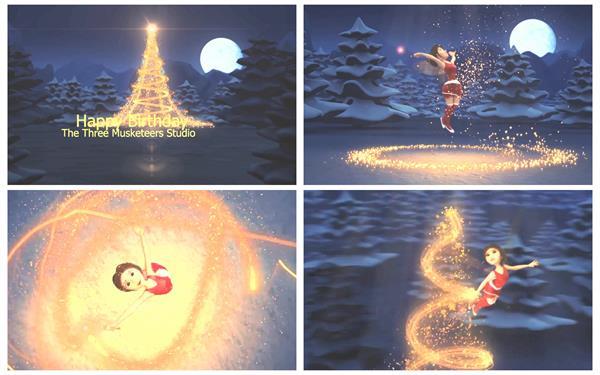 会声会影X6模板 卡通人物绚丽粒子冰雪圣诞节生日开场片头模板