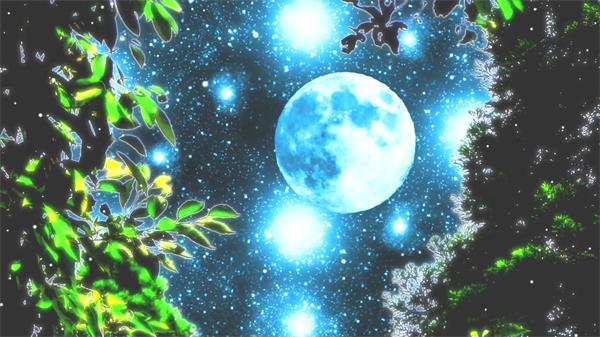 华丽星空树叶摇摆光效闪烁仰视月亮视觉冲LED击背景视频素材