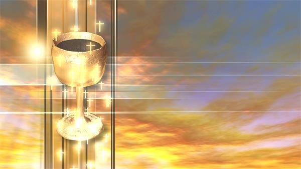 壯麗金碧光輝場景古代藝術圣杯十字架祝福祈禱舞臺背景視頻素材