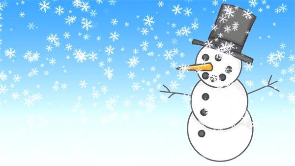 圣诞节假期雪人飘雪唯美儿童欢乐画面幻灯片背景视频素材