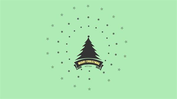 AE模板 简洁扁平化祝福节圣诞节图案变化渲染新年节日模板 AE素材