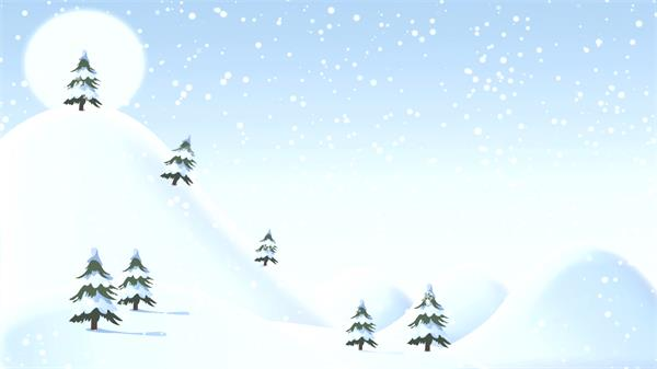 缤纷卡通飘雪圣诞节雪覆盖小山树木节日氛围舞台LED背景视频素材
