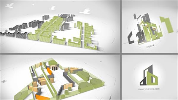 AE模板 极简潮流建筑工程效果演绎商业化LOGO标志模板 AE素材