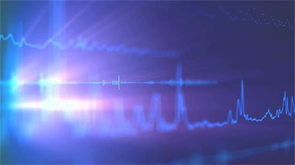 蓝色波浪线条音频跳动音乐会场景派对酒吧屏幕舞台背景视频素材