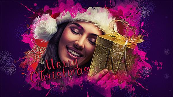 AE模板 美丽优雅圣诞节涂鸦水墨效果切换图片展示模板 AE素材