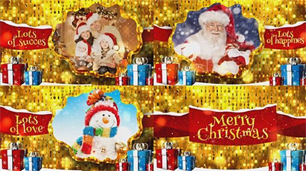 AE模板 豪华大气金色圣诞节快乐淡出切换图文展示模板 AE素材