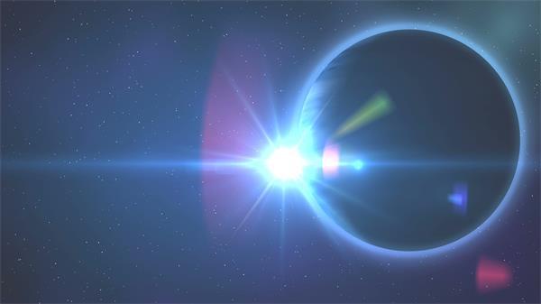 蓝色星球炫光太阳移动照射科幻星际场景视觉冲击背景视频素材
