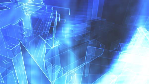 未來科技發展建筑藍圖虛擬抽象空間旋轉視覺沖擊背景視頻素材