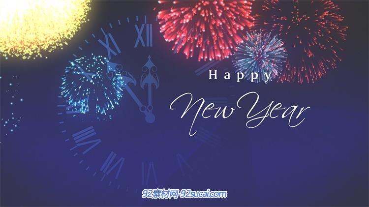 蓝色时钟背景新年倒计时烟花绽放企业祝贺led背景视频