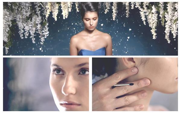 化妆师精心制作模特脸部化妆造型拍摄杂志封面照片高清视频实拍