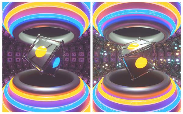炫酷3D空间黑色条形魔方旋转灯光闪耀变革视觉打击舞台高清视频实