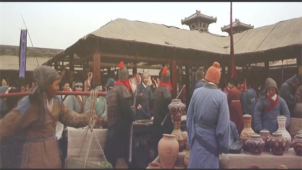 古時代街市人們古裝擺攤市集販賣景象電視劇高清視頻實拍