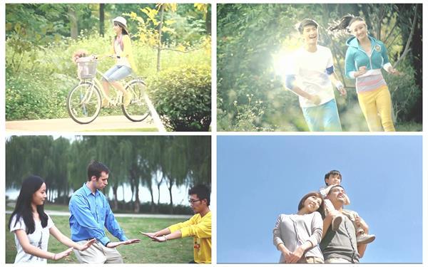休闲安康生存跑步骑车活动温馨家庭调和小区生存高清视频拍摄