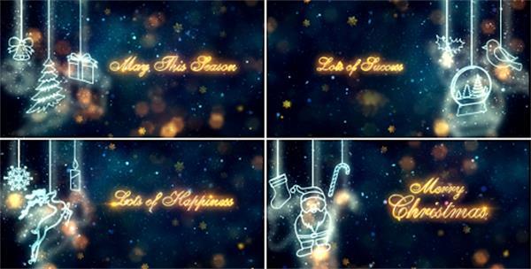 AE模板 浪漫唯美光效雪花粒子飘舞圣诞节图案弹出标题模板 AE素材