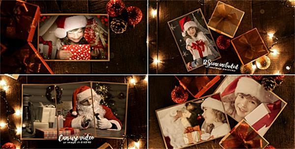 AE模板 复古怀旧木板场景礼物圣诞节回忆相册揭示模板 AE素材