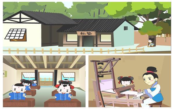 古典卡通动画儿童教学私塾读书学习诗词文化传承背景视频素材