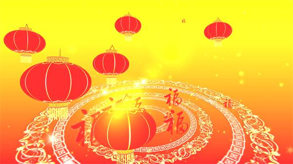 繽紛中國風喜慶節日祝福燈籠飄浮歡樂新年舞臺背景視頻素材