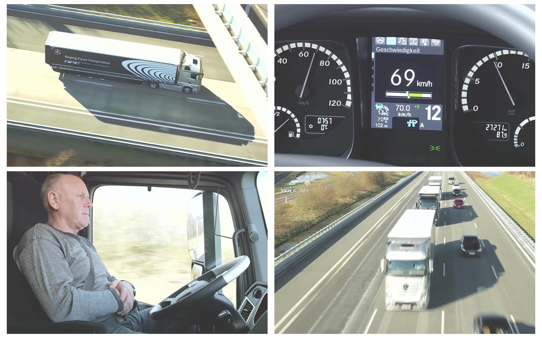 现代化技术生产大货车运输无人驾驶技术障碍躲避宣传广告视频实拍