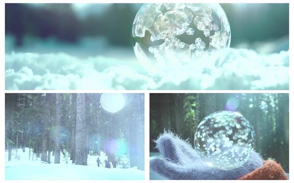 [4K]唯美雪山叢林間孩子們吹泡泡凝固結冰自然現象景色高清視頻拍