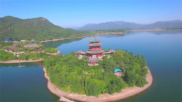 北京水库湖泊唯美山水风光古典建筑特色景点高清视频实拍