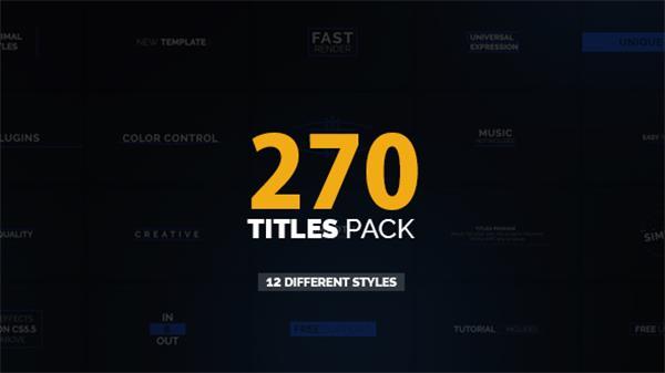 AE模板 270款动感滑动淡出淡入效果切换标题字幕揭示模板 AE素材