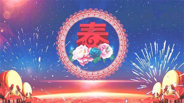 新年迎新春鲜花圆形图案旋转战鼓烟花渲染贺岁舞台配景视频素材