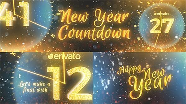 AE模板 震撼奢华金色光效新年圣诞倒计时节日喜庆展示模板 AE素材