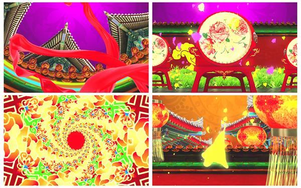 酷炫古典中国风格优雅战鼓红绸巾灯笼喜庆新春场景背景视频素材