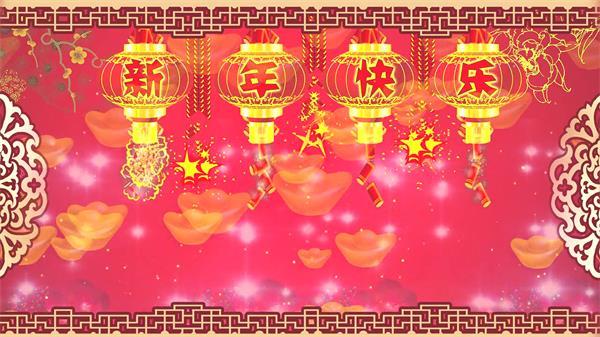 新春佳節祝福賀卡新年喜慶祝賀古典氣息晚會屏幕舞臺背景素材