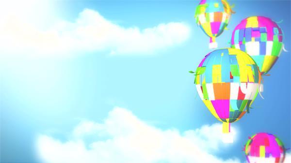 卡通儿童欢乐彩色氢气球升空蓝天背景?#29611;?#29255;演讲背景视频素材