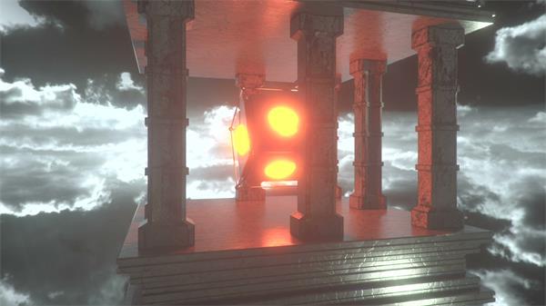 震撼大气天空场景光效魔方旋转视觉场景特写VJ背景视频素材