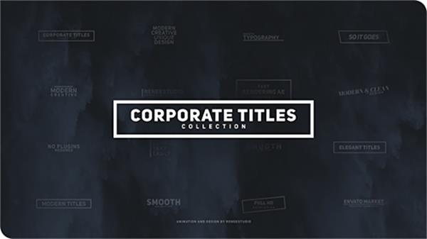 AE模板 快速动感滑动变化弹出公司企业标题动画揭示模板 AE素材
