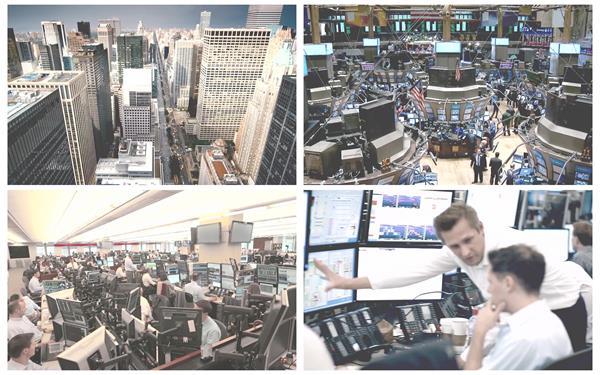 金融市場繁忙景象分秒必爭大城市快節奏股市高清視頻延時拍攝