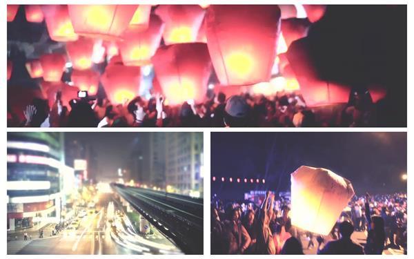 地理城市文化节日投放孔明灯升空祝福寓意人物生活高清视频实拍