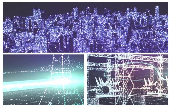 炫酷像素化光效粒子电力发电站抽象宣传新视觉展示配景视频素材