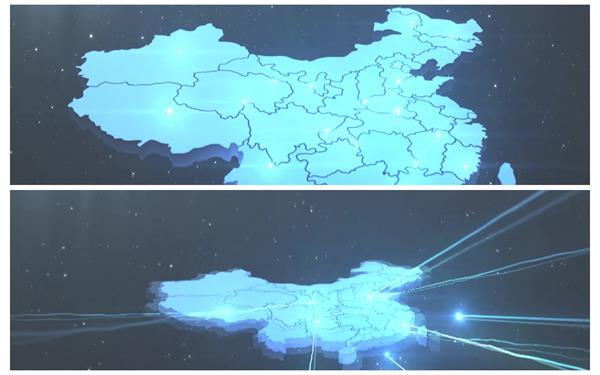 炫酷科技空間場景光束滑翔中國地圖宣傳震動視覺屏幕背景視頻素材