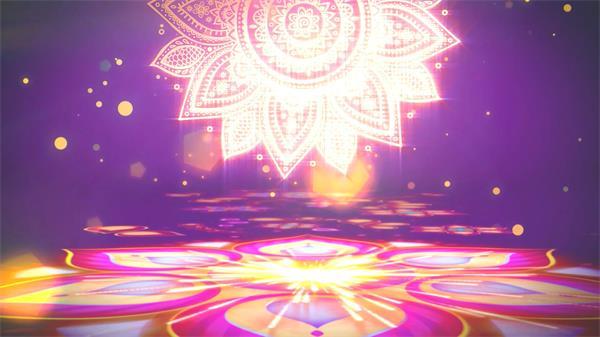 高贵大气花朵绽放粒子光效飘浮点亮花纹典雅视觉气息背景视频素材