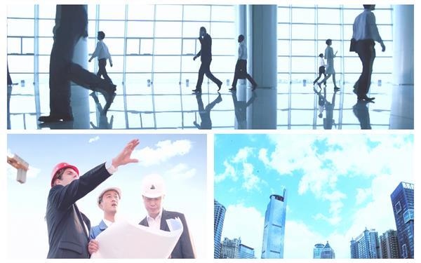 城市高楼大厦企业商务会谈工程合作建设成功表情握手高清视频拍摄