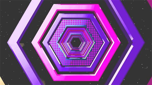 笼统魔幻星空场景菱形隧道循环回型变革VJ视觉舞台配景视频素材