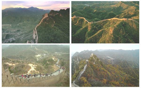 晴空万里中国历史建筑文化万里长城风光景色高清视频实拍(有音乐